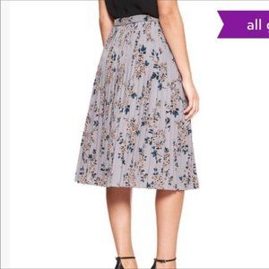 Banana Republic Grey Floral Pleated Midi Skirt